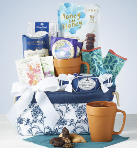 Mom will love a super cute Mother's Day Basket with unique blueberry tea, treats and gorgeous blue tote.