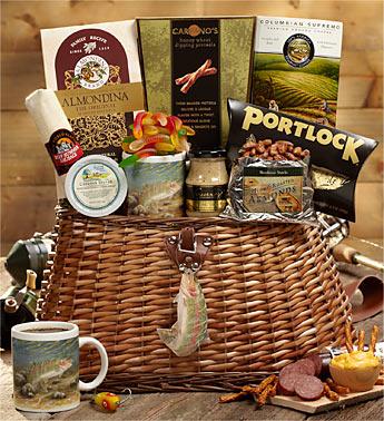 1800baskets gift baskets party 1800baskets1800baskets fishing creel full of fishermans favorite snacks gift basket negle Images