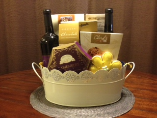 flowers of spring wine gift basket