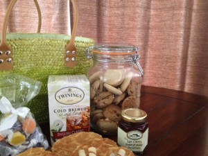mothers day green tote gift basket