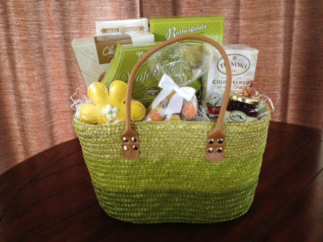 mothers day Spring green gift basket tote