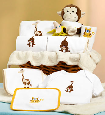 new baby gift basket with monkey