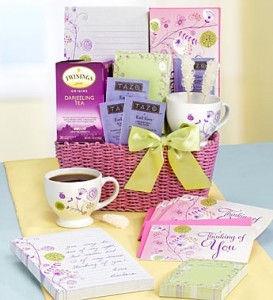 stationary gift basket writing and tea