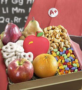 fruit and sweets and back to school treats for A+ students and teachers