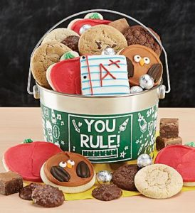 Frosted back to school cookies in a you rule pail