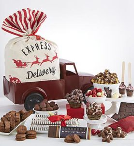 Vintage gift for Christmas Delivery filled with chocolates, truffles and much, much more!