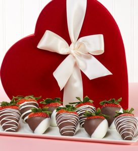 Win the Chocolate Strawberries in Velvet Heart Box 9 Ct from in our Valentines Sweepstakes