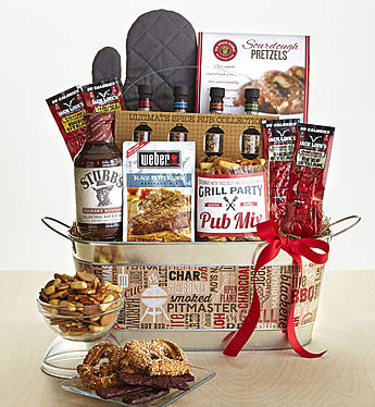 The Classic Barbecue Gift Tub features zestier, spicier snacks dad will love.