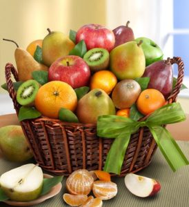 Juicy fruit basket, a smart back to school treat with fresh apples, kiwi, pears and more