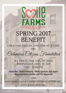 Smile Farms Spring Benefit will be held April 19, 2017.