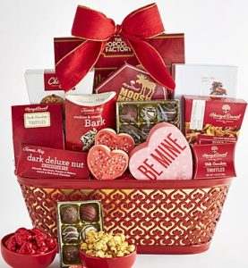 Valentines gift basket brimming with chocolates and super cute gifts