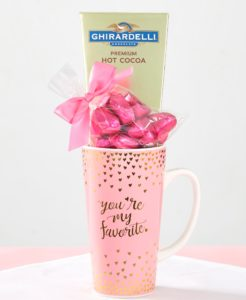 Let your valentine know they are number one wih Red Hot Valentines Gifts and a pretty gold and pink metallic mug with treats.